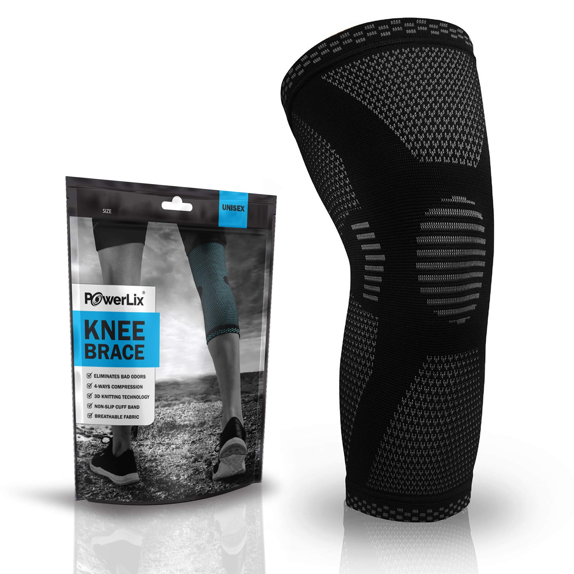 POWERLIX Compression Knee Sleeve - Best Knee Brace for Men & Women – Knee Support for Running, Crossfit, Basketball, Weightlifting, Gym, Workout, Sports etc. – for Best FIT Check Sizing Chart