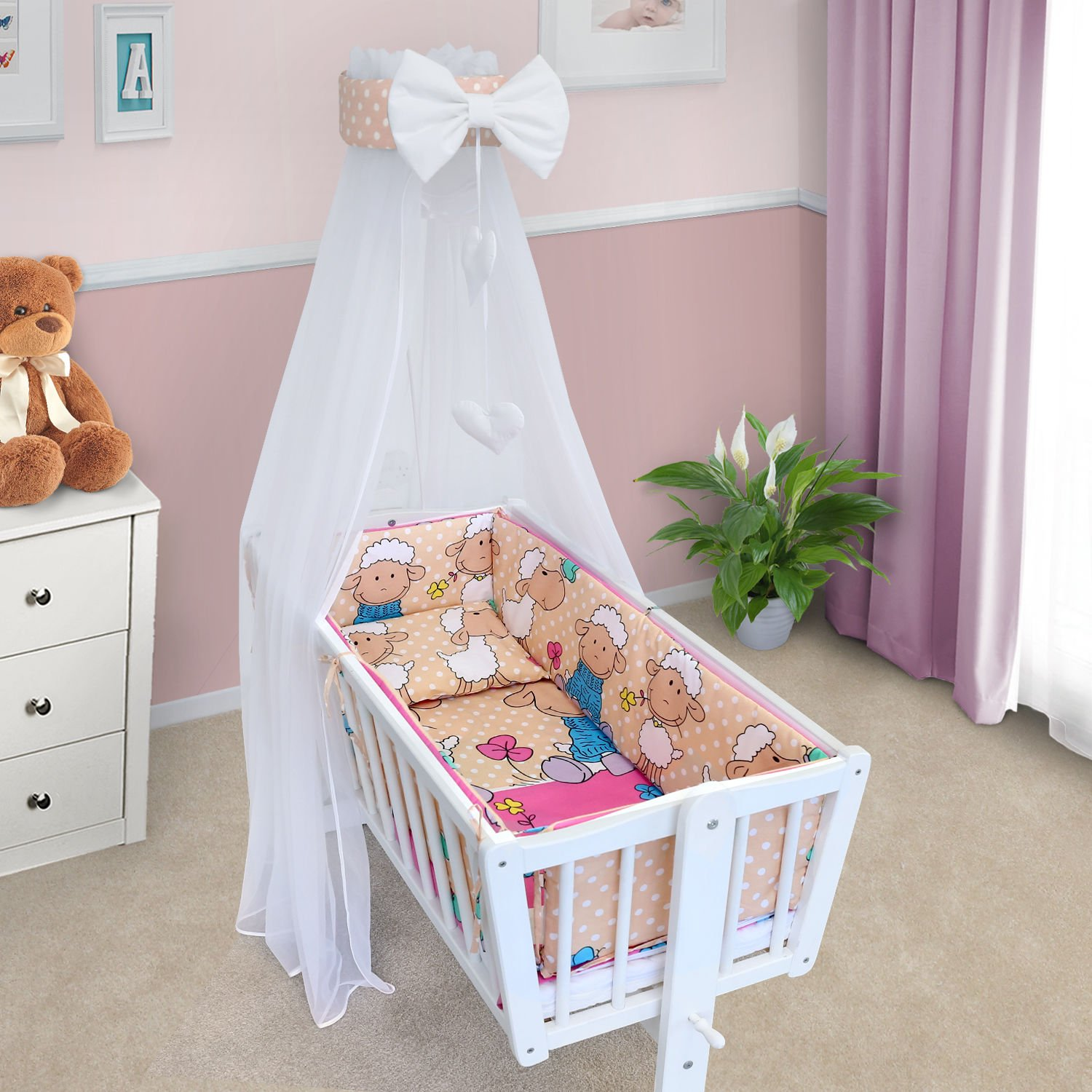 BABY CANOPY DRAPE MOSQUITO NET WITH HOLDER TO FIT CRIB (ELEPHANTS GREY) Babymam