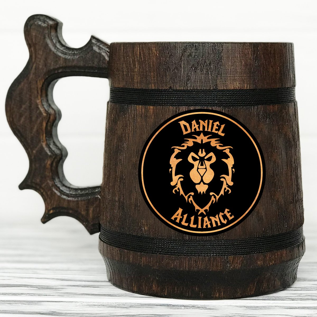 Custom WOW Gift World Of Warcraft Mug Alliance Mug Gamer Gift World Of Warcraft Gifts Custom Beer Steins Wooden Beer Tankard #68//0.6L//22 ounces Personalized Alliance Gift