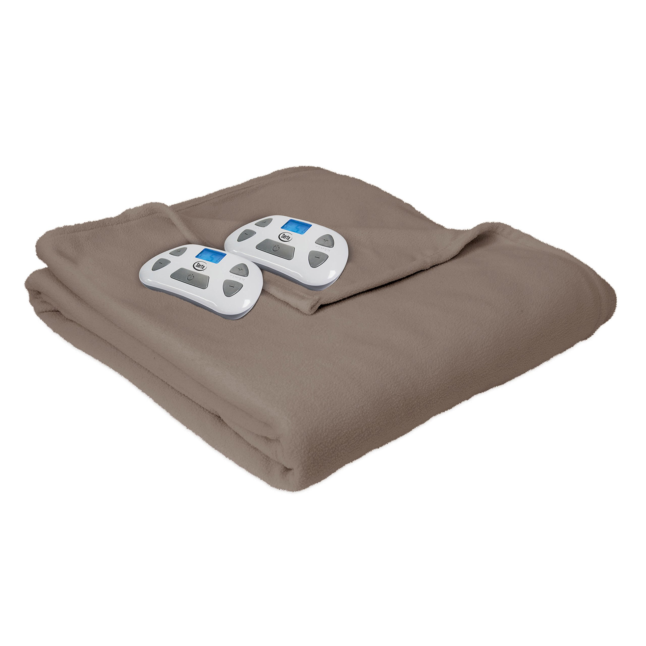 Serta Heated Electric Fleece Blanket  with Programmable Digital Controller, King, Natural Model 0917 by Serta