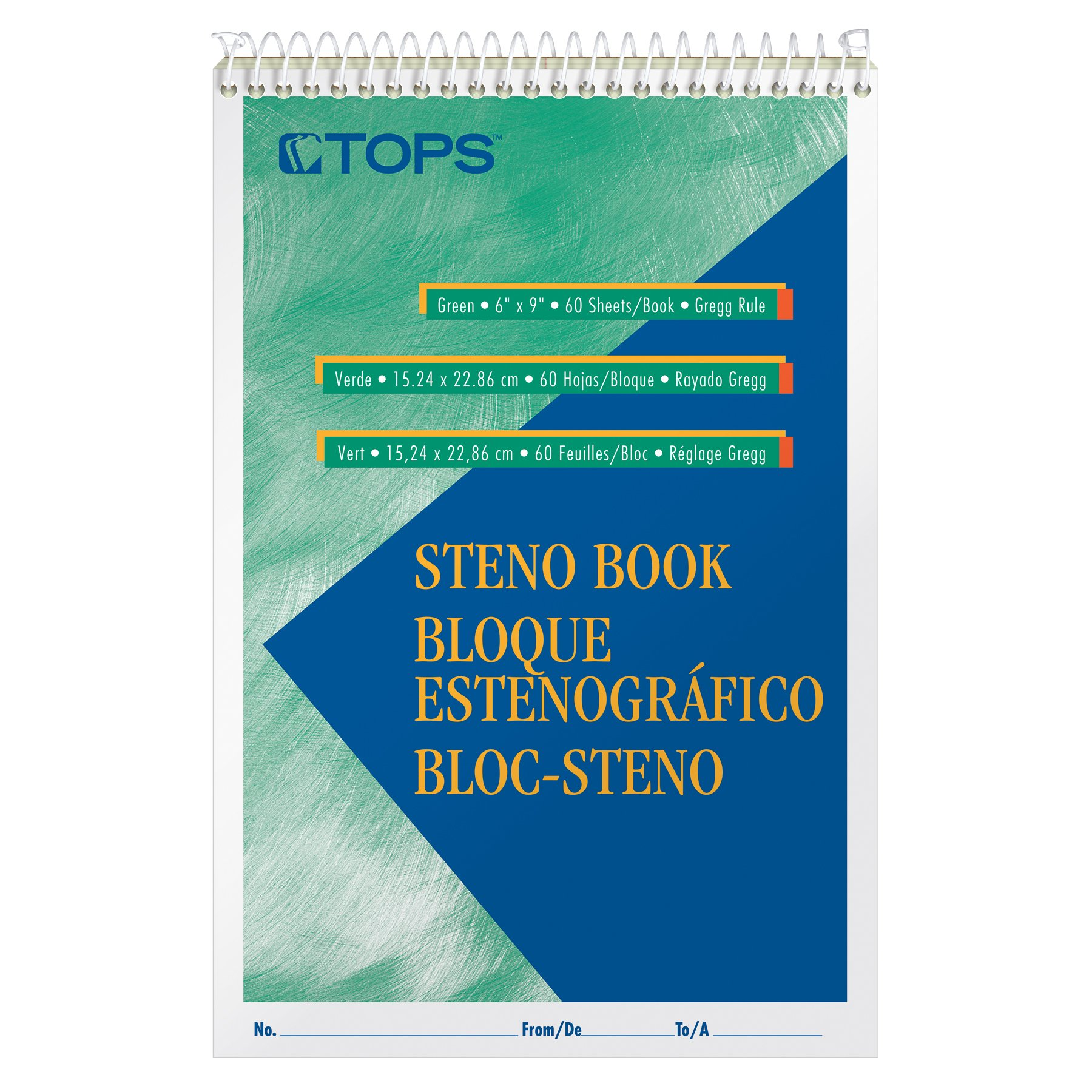 TOPS Steno Books, 6'' x 9'', Pitman Rule, Green Tint Paper, 80 Sheets, 12 Pack (8023)