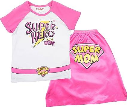 White /& Pink Funstuff Mother/'s Day Super Hero Mom Toddler Girls/' T-Shirt /& Cape