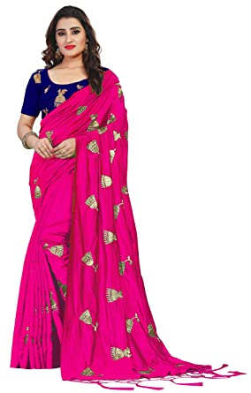 eae56f610b6232 Vaidehi Fashion Paper Silk Embroidered Saree with blouse piece (Golden-Bell-Pink)
