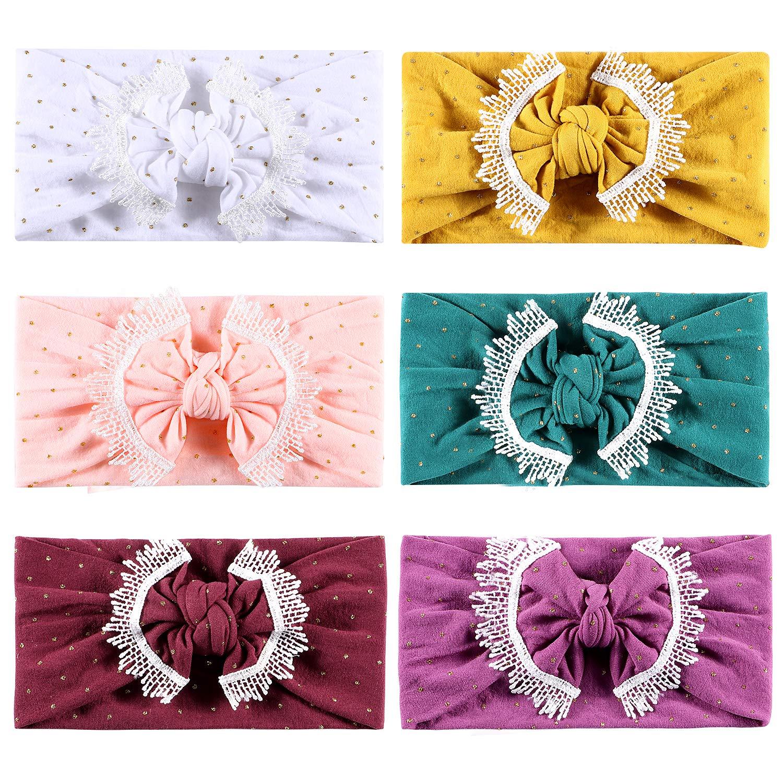 Tacobear Fascia Capelli Neonata Bambina Cotone Morbida Fasce Cerchietti Elastico Turbante Headband con Fiocco Fiori per Neonata Capelli Accessori