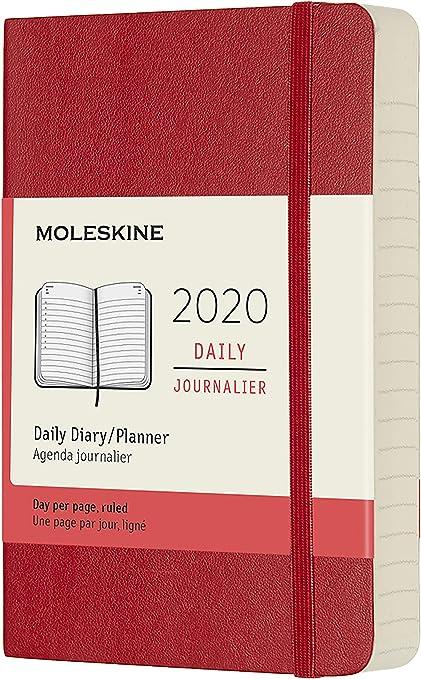 Moleskine - Agenda Diaria de 12 Meses 2020, Tapa Blanda y Goma Elástica, Tamaño Pequeño 9 x 14 cm, 400 Páginas, Rojo Escarlata