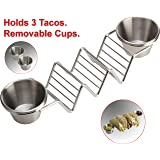 Stainless Steel Taco Holder Tray by Clasier - Exclusive Taco Stand with 2 Removable Salsa Serving Cups -Dishwasher and BBQ Grill Safe, Oven Safe Rack for Baking or Reheating - 10.5 x 2.5 x 2 inches