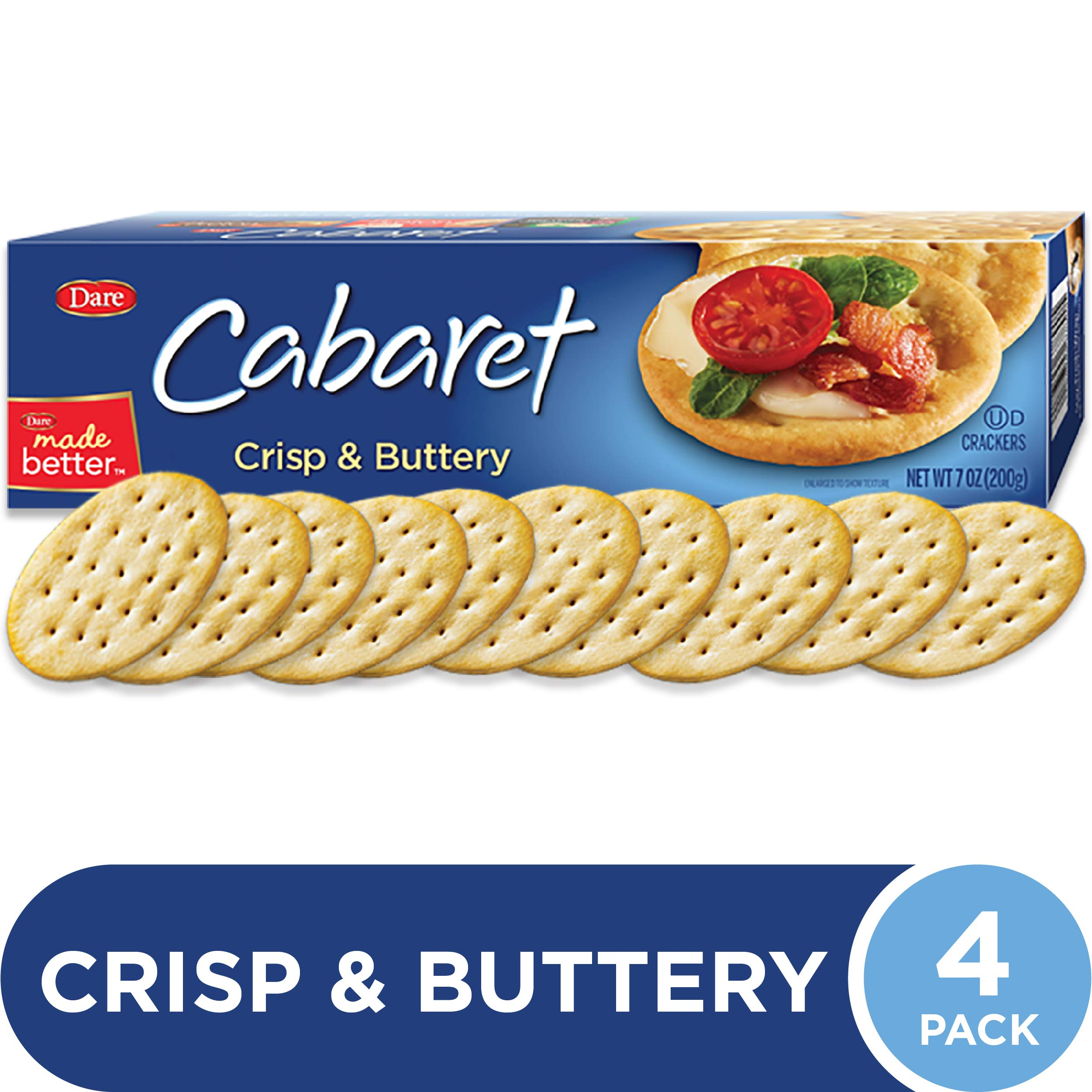 Dare Cabaret Crackers, 7 oz (Pack of 4) - Crisp and Creamy with a Rich, Buttery Flavor - No Artificial Colors or Flavors, 0g Trans Fat Per Serving - Delicious Plain or Topped by Dare
