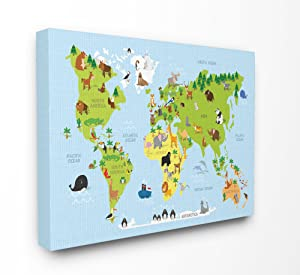 The Stupell Home Decor Collection brp-2116_cn_24x30 World Map Cartoon and Colorful Stretched Canvas Wall Art, Multicolor