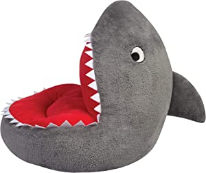 Trend Lab Children's Plush Shark Character Chair Seating Kids Ocean, Grey