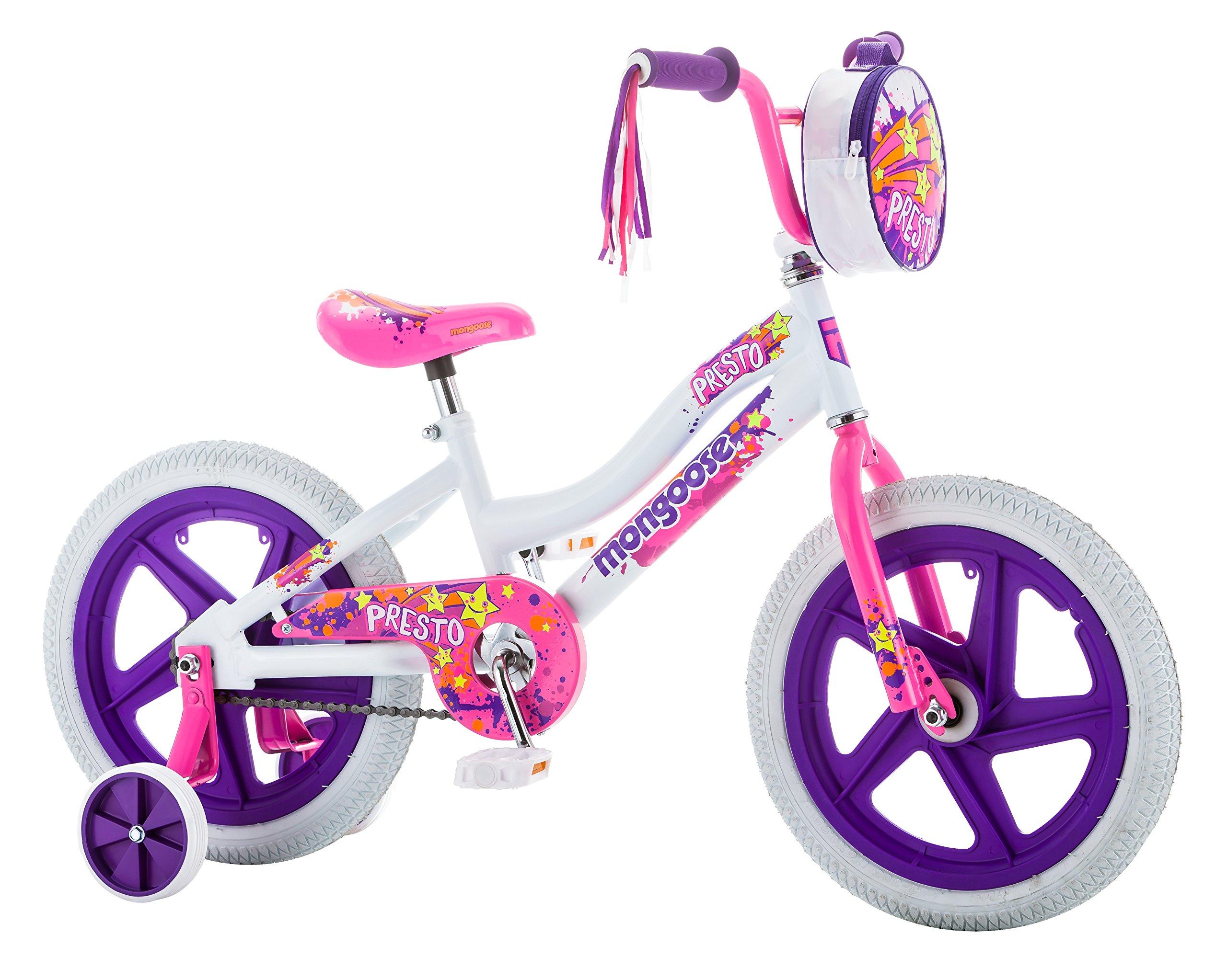 Mongoose Girls Presto Bicycle with 16'' Wheels, White