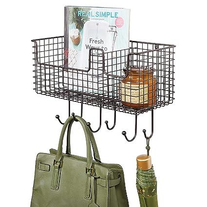 mDesign Organizador de cartas con cesta para pasillo y cocina – Colgador de pared compacto con