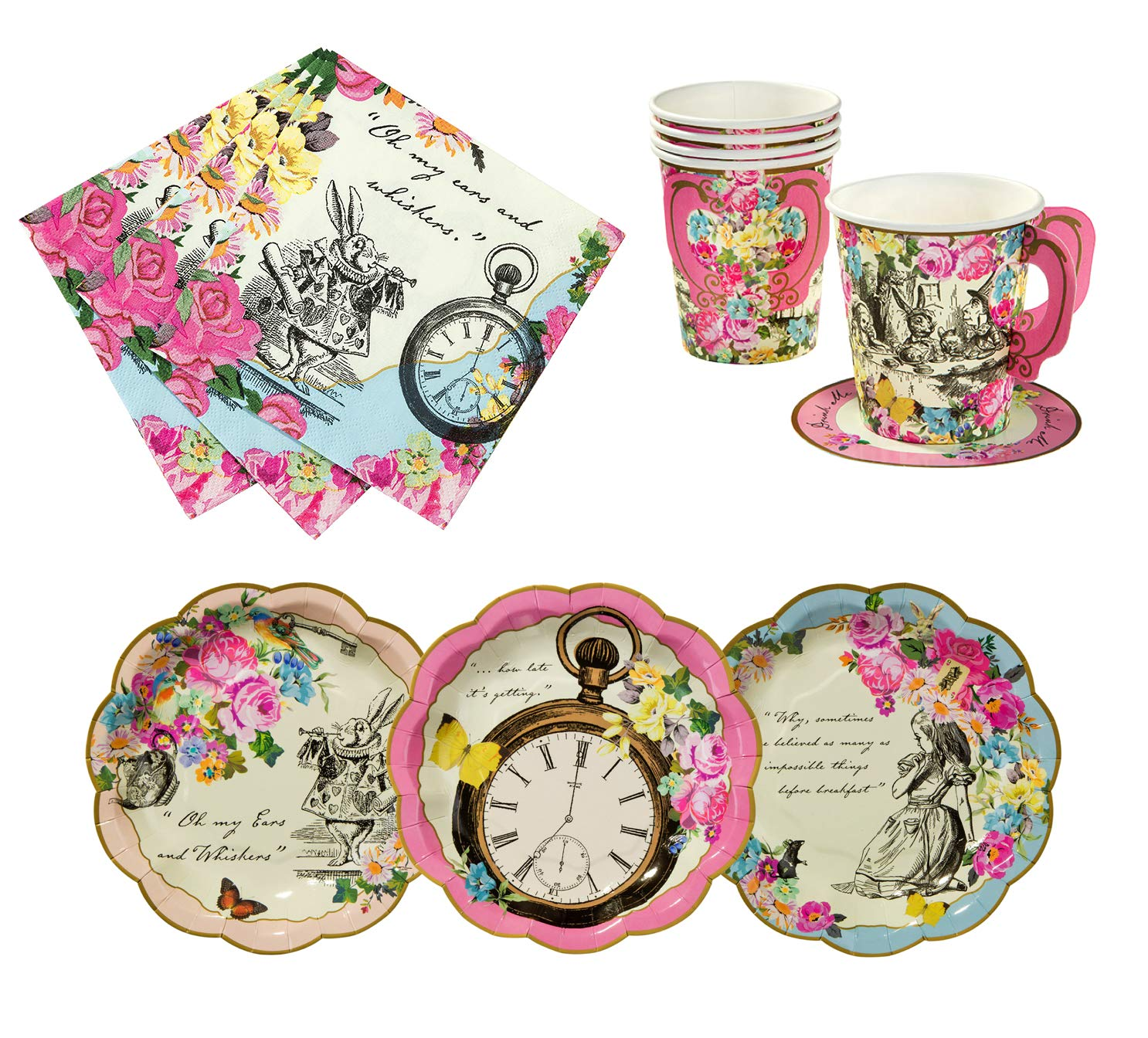 Talking Tables Alice in Wonderland Tea Party Set   Designer Mad Hatter Tea Cups and Saucer Sets, Alice Party Plates and Napkins   Perfect for Weddings, Birthday, Bridal Shower and Tea Parties