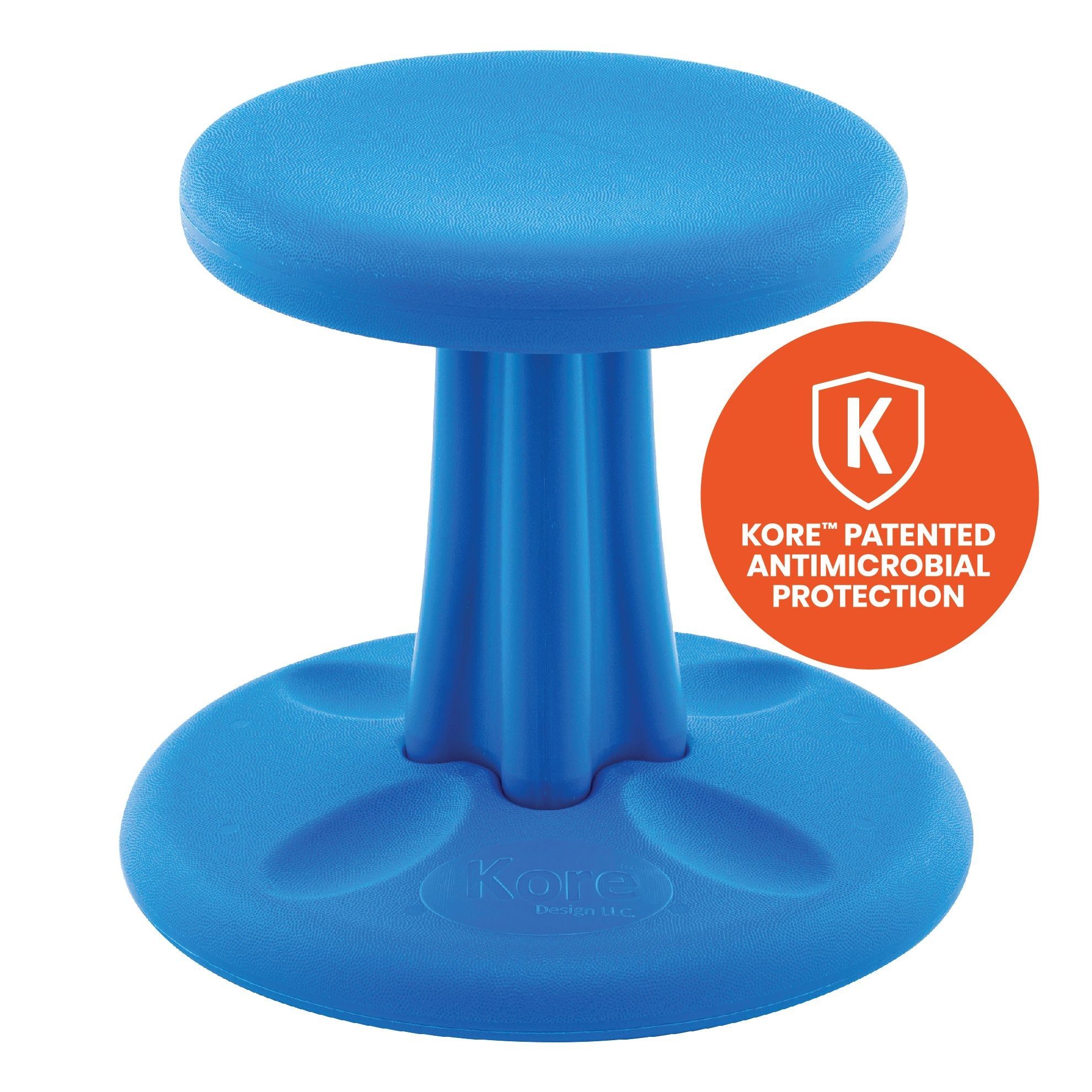 Kore Patented WOBBLE Chair   Now Antimicrobial Protection   Stem Flexible Seating   Made in the USA - Active Sitting Kids - Preschool, Blue (12in)