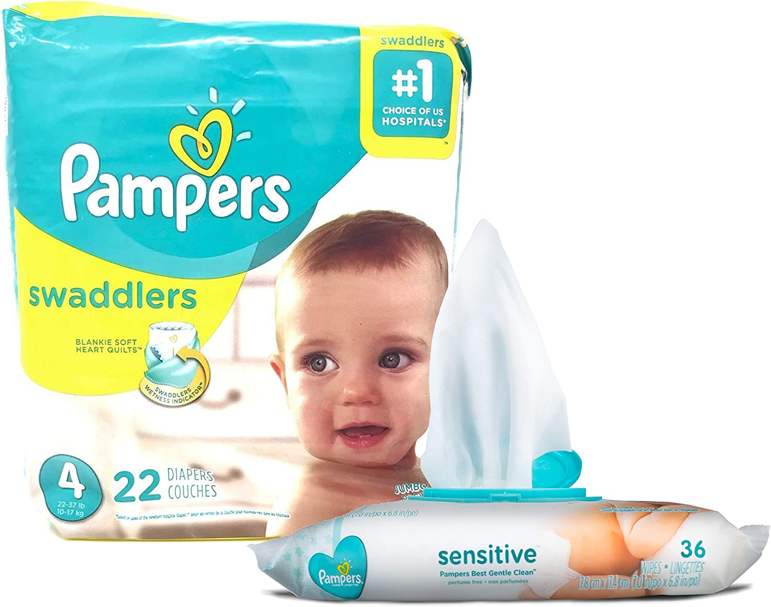 Pampers Swaddlers Disposable Size 4 Diapers (22 Count) Bundle with 36 Pampers Sensitive Care Baby Wipes