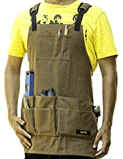 Waxed Canvas Woodworking Apron - Premium Quality Work Apron To Hold Tools For Men and Women