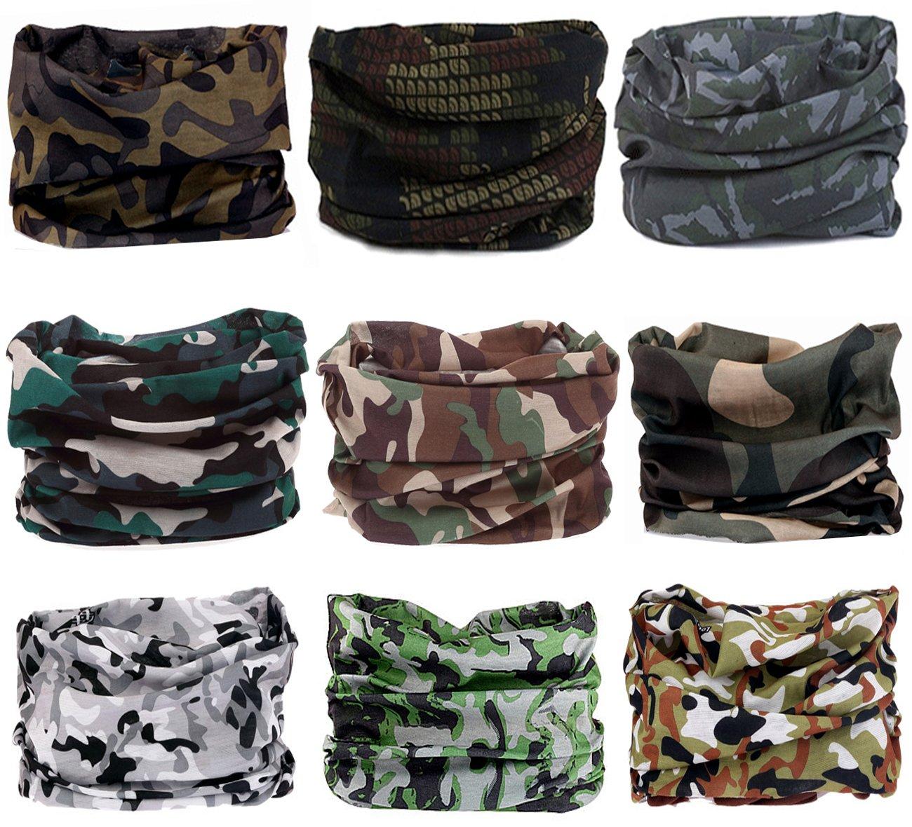 KINGREE 9PCS Headbands, Outdoor Multifunctional Headwear, Sports Magic Scarf, High Elastic Headband with UV Resistance, Athletic Headwrap, Mens Sweatband, Womens Hairband (Camo A1)