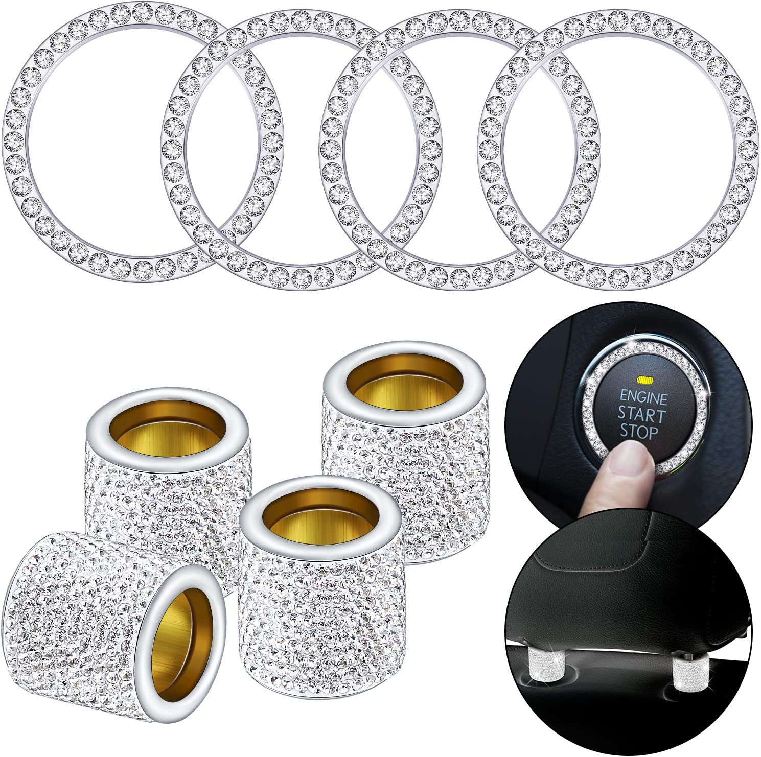 Amazon Promo Code for 8 Pieces Car Headrest Collars Rings Crystal Car Seat