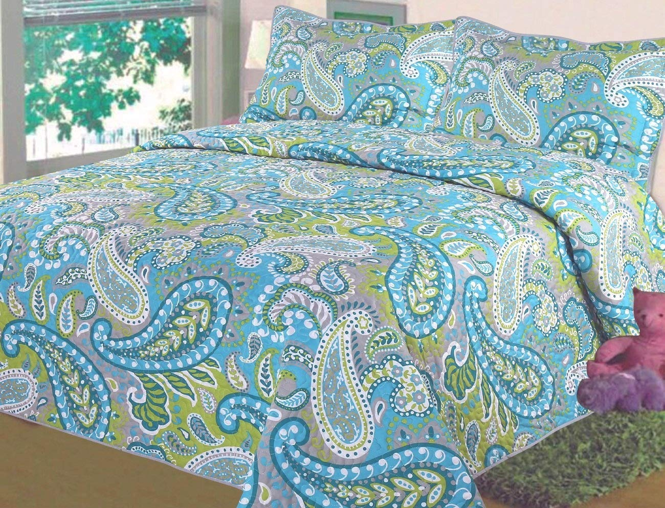 3-Piece Fine Printed Quilt Set (California) King Size Bedspread Coverlet Bed Cover (Turquoise Blue Green Paisley) COMIN18JU058163