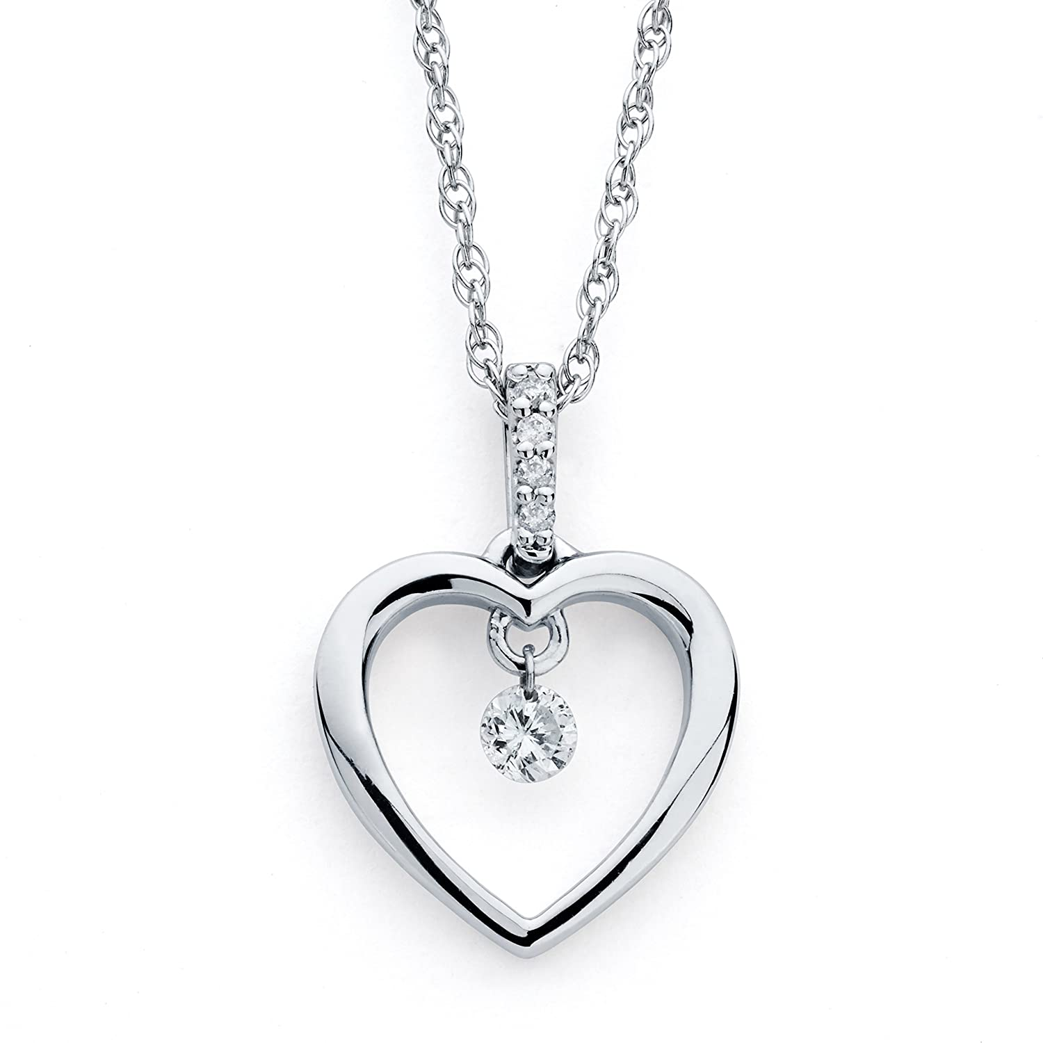 925 sterling silver 10 cttw floating diamond heart pendant 925 sterling silver 10 cttw floating diamond heart pendant necklace with 18 chain aloadofball Images
