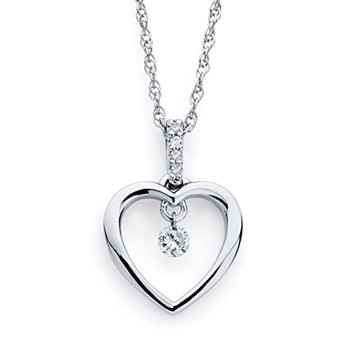 Brilliance in Motion 925 Sterling Silver Dancing Diamond Heart Pendant Necklace, 18 .10 cttw, I Color, I1 Clarity