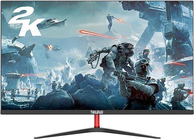 Monitor 24 Pulgadas 2560x1440P Monitores PC Gaming de Pantalla Ancha sin Marco IPS 2K (100% sRGB, Puerto HDMI y VGA, Tiempo de Respuesta de 5 ms) para PS3 / PS4 / Xbox/PC,