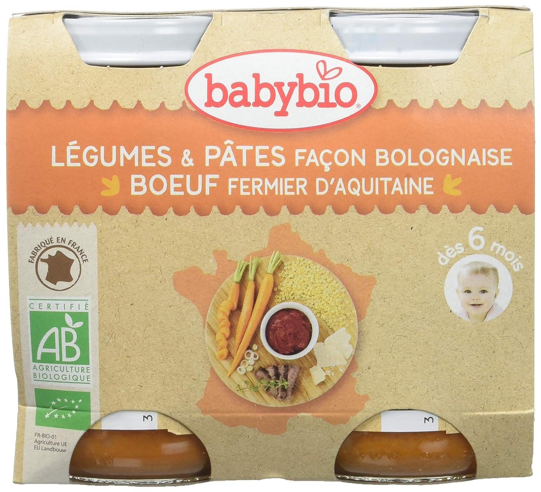 Babybio Petit Pot Légumes Pâtes Façon Bolognaise Bœuf Fermier d'Aquitaine/du Limousin 6+ Mois BIO 400 g (2 X 200g) VG51003