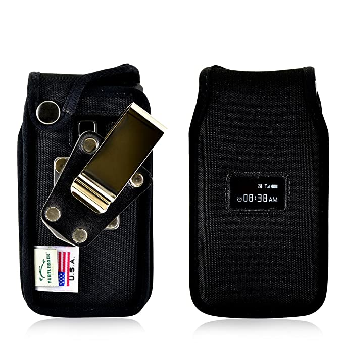 new style 54a63 c94b9 Turtleback Fitted Case Made for ZTE Cymbal T Phone Black Nylon Heavy Duty  Rotating Removable Metal Belt Clip Made in USA