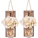 Besuerte Mason Jar Wall Sconces with LED Fairy...