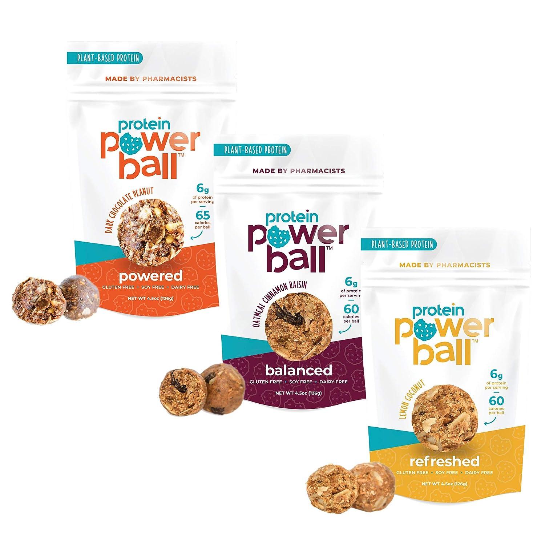 Protein Power Ball Healthy Protein Snacks, Gluten Free, Dairy Free, Soy Free Snack Energy Bites | Dark Chocolate Peanut | Oatmeal Cinnamon Raisin | Lemon Coconut (Variety Pack, 3 Pack)