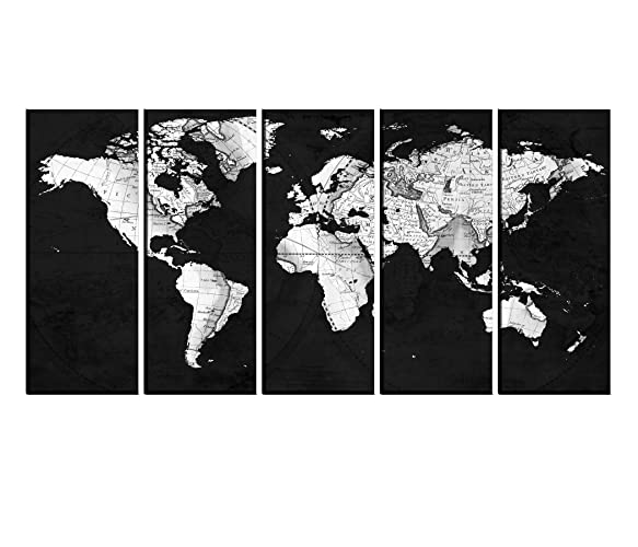 Amazon Com Black And White World Map Canvas Print Framed Old