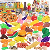 MGparty 160PCS Pretend Play Food Toys, Kitchen Plastic Food Fruits Vegetables Accessories Toys, Kids Toddlers Birthday Gift E