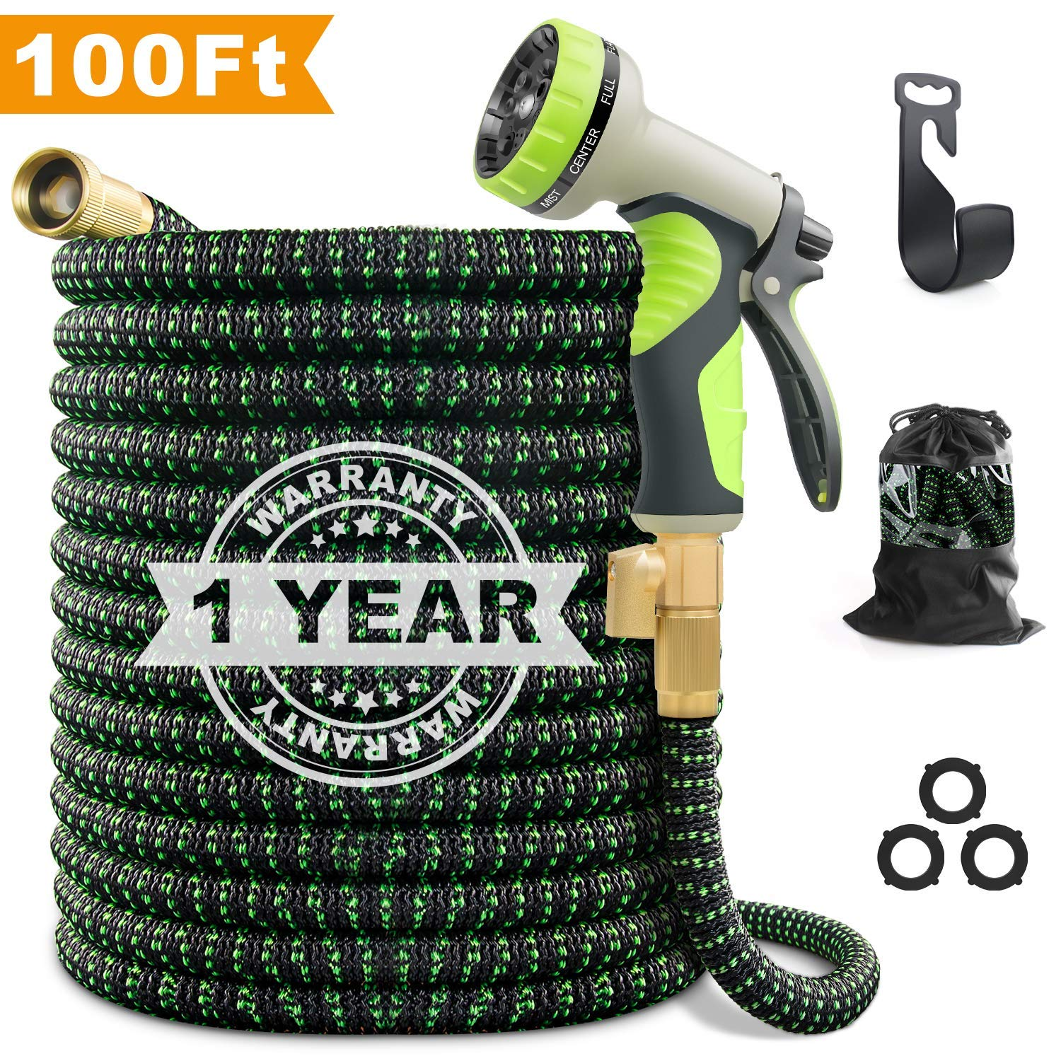 VIENECI 100ft Garden Hose Upgraded Expandable Hose, Durable Flexible Water Hose, 9 Function Spray Hose Nozzle, 3/4'' Solid Brass Connectors, Extra Strength Fabric, Lightweight Expanding Hose
