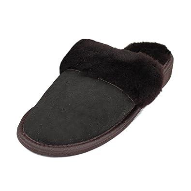 Damen Lammfell Hausschuhe Winter Pantoffeln - alle Größen zur Auswahl (36, Dunkelbraun)