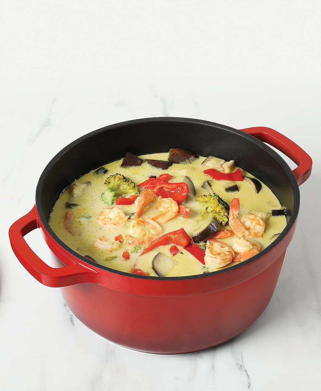 Crock Pot 79564.02 Edmound 5 Quart Cast Aluminum Dutch Oven with Lid, Gradient Red