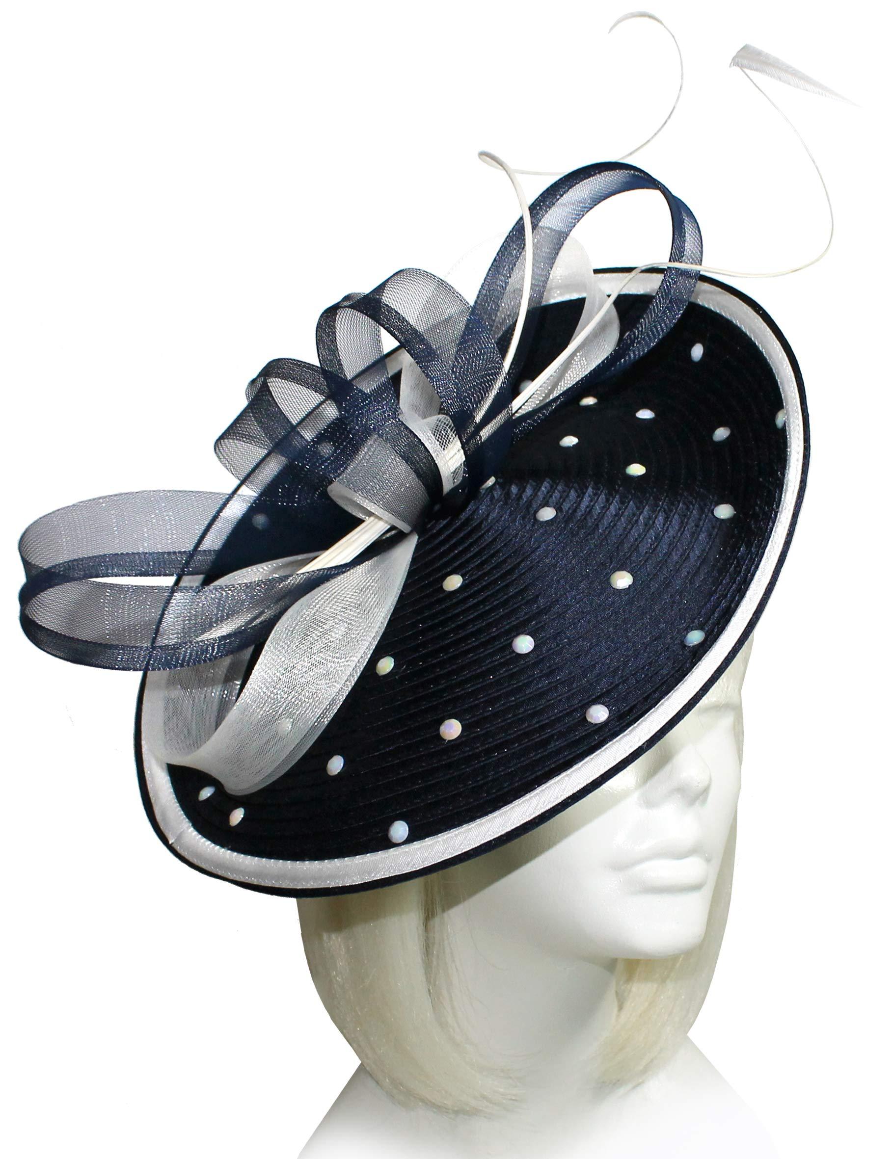 Mr. Song Millinery All-Season Profile Dish Headband Fascinator AF98 Navy Blue/White