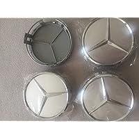 Velgdop Mercedes Benz 4 stuks 75 mm naafdop wielnaafdop voor Mercedes-Benz velgdoppen wielnaafdop titaniumzilver…