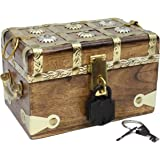 "Well Pack Box Wooden Pirate Treasure Chest 7"" x 4"" x 4"" Medium Authentic Includes Antique Strong Iron Lock With 2 Skeleton Keys Great For Parties, Halloween, Holidays and Birthdays"