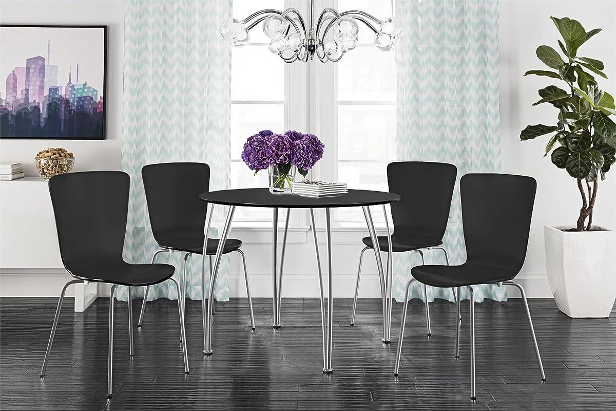 Novogratz Round Dining Table with Chrome Plated Legs, Black