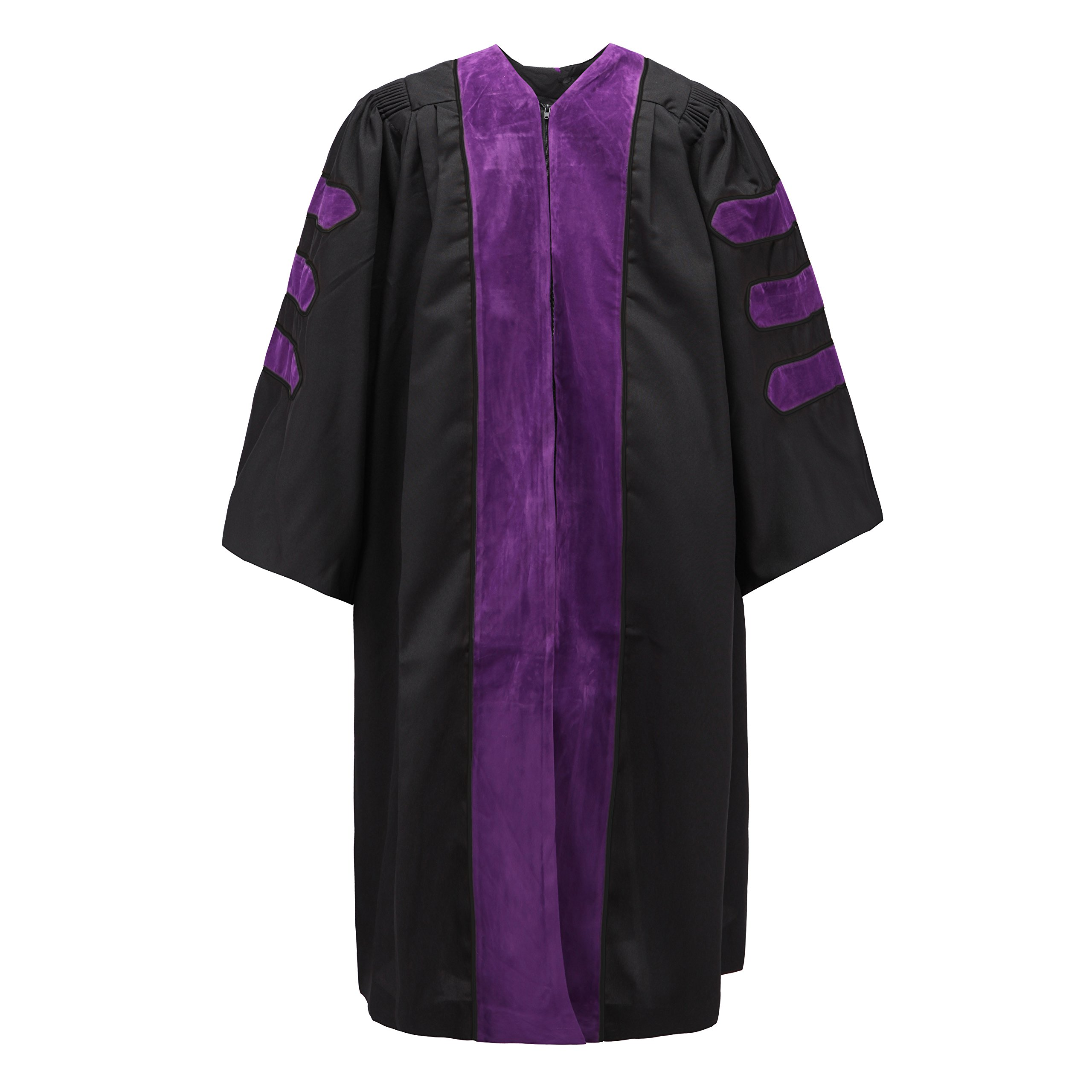 Robe Depot Unisex Deluxe Doctoral Graduation Gown Without Piping Purple Velvet,Size 51 by Robe Depot