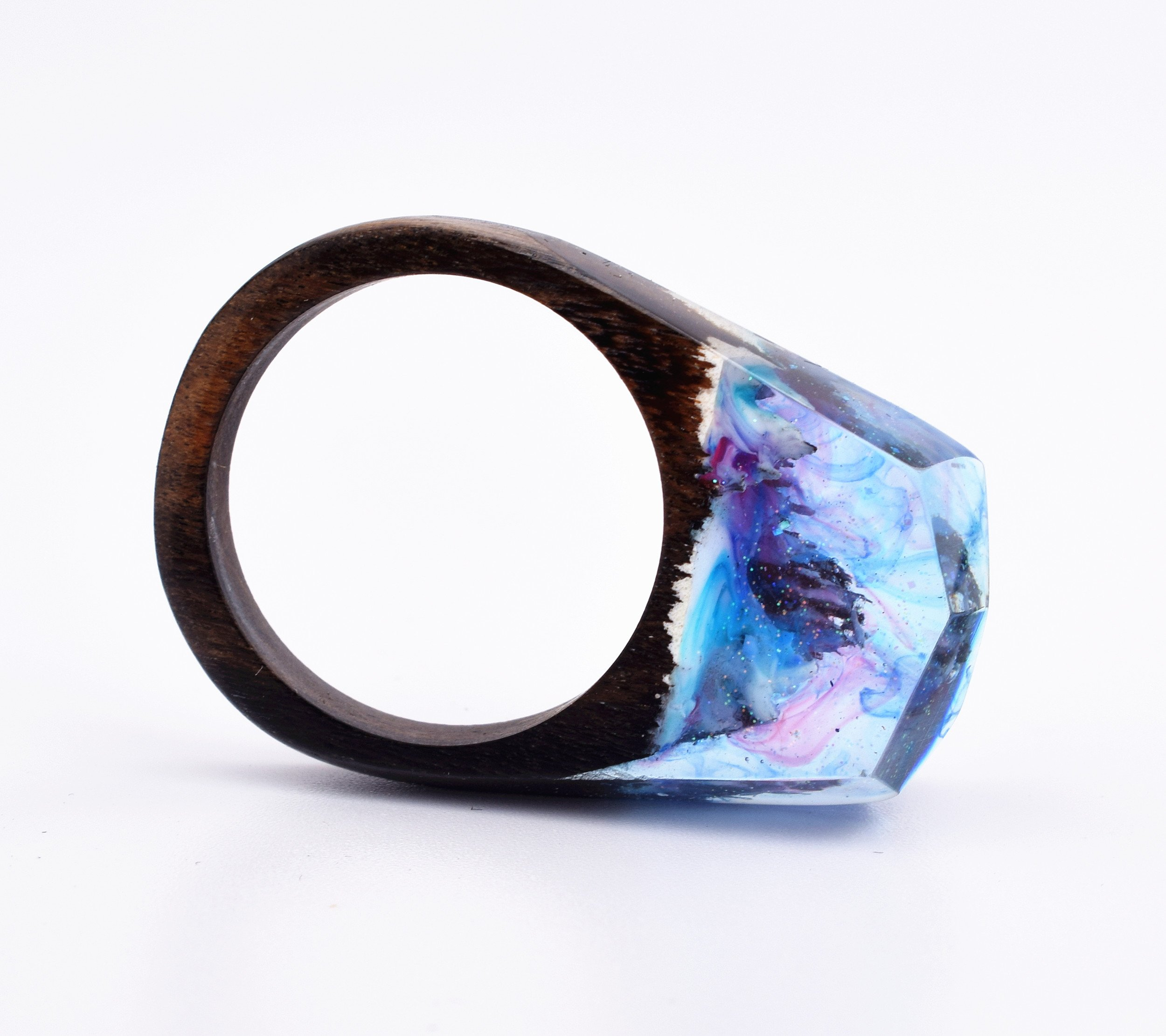 Heyou Love Handmade Wood Resin Ring With Secret Sky Landscape Inside Jewelry by Heyou Love (Image #3)