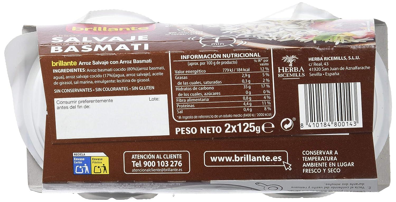 Brillante Arroz Salvaje con Arroz Basmati Plato Preparado - Paquete de 2 x 125 gr - Total: 250 gr: Amazon.es: Amazon Pantry