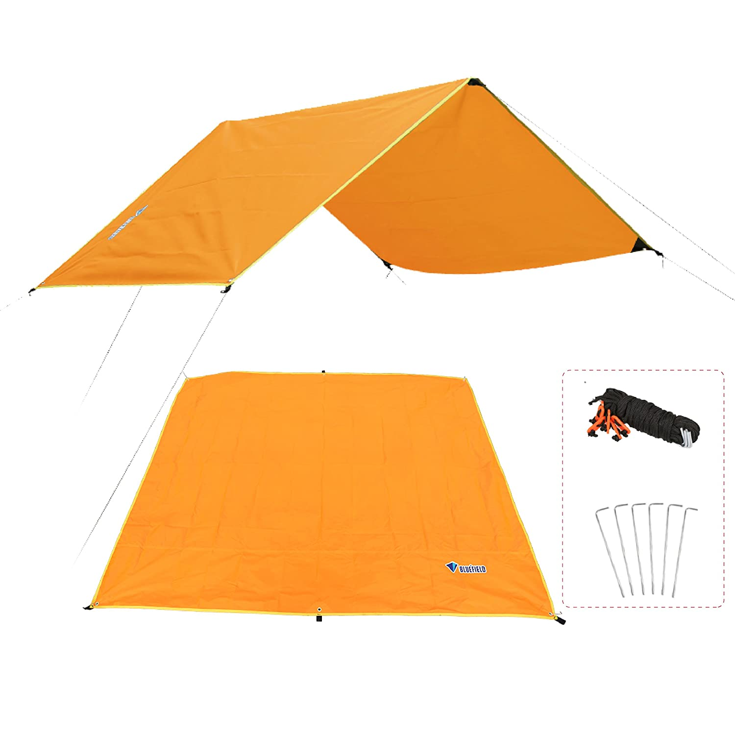 Azarxis Hamaca Rain Fly Tent Tarp Ground Cloth Footprint Shelter Sombrilla Beach Picnic Manta Mat Sand Free Large para Acampar al Aire Libre Park Lawn Grass con Stakes Rope