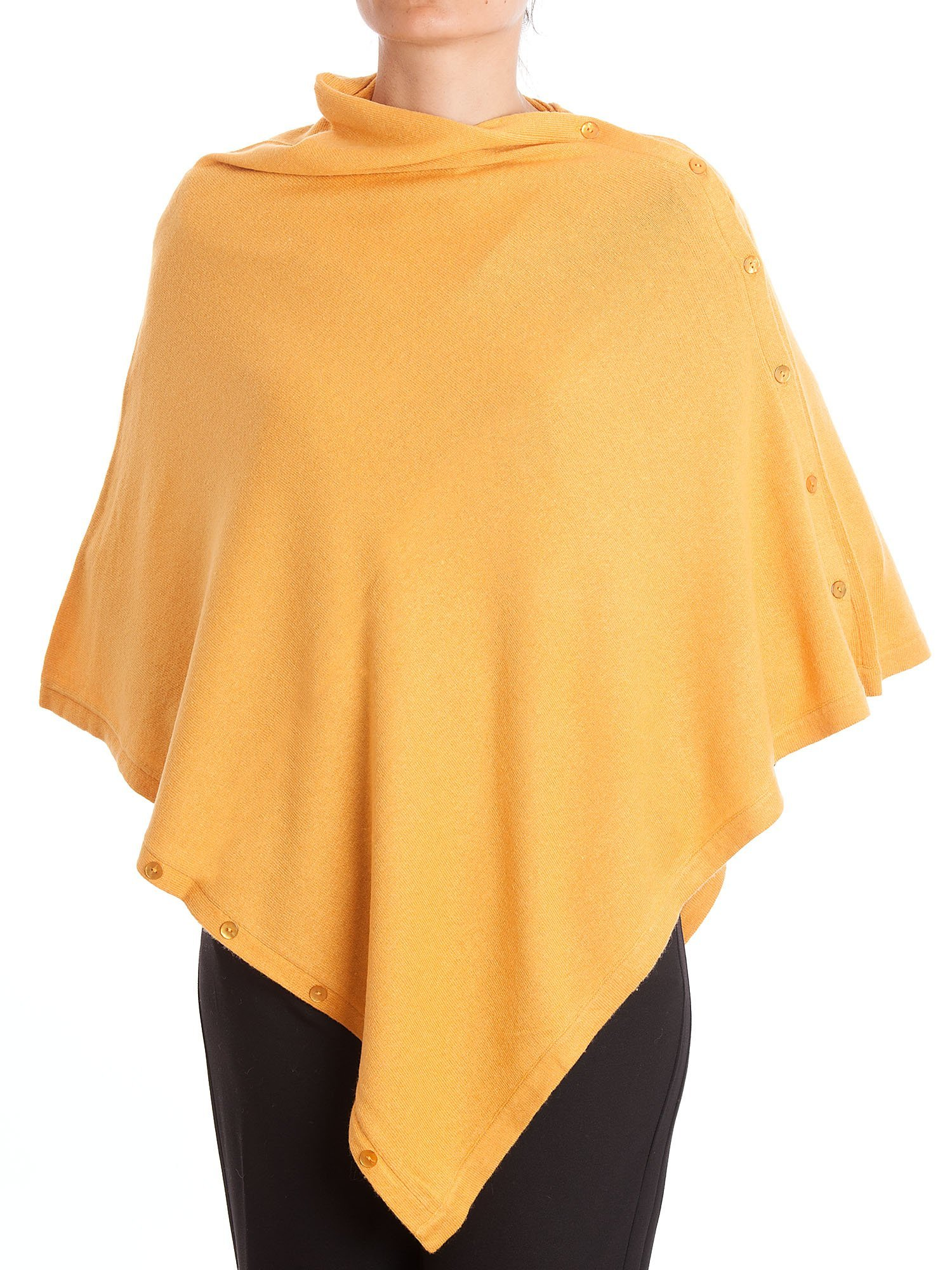 DALLE PIANE CASHMERE - Poncho with Buttons Cashmere Blended Yarns - Made in Italy, Color: Yellow, One Size
