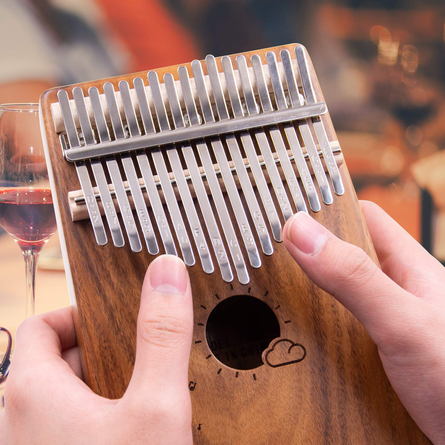 Kalimba 17 Keys Thumb Piano 17 Tone Finger Piano Musical Instrument for Beginner Children with Tune Hammer and Instruction