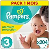 Pampers - Premium Protection - Couches Taille 3 (5-9 kg) - Pack 1 mois (x204 couches)