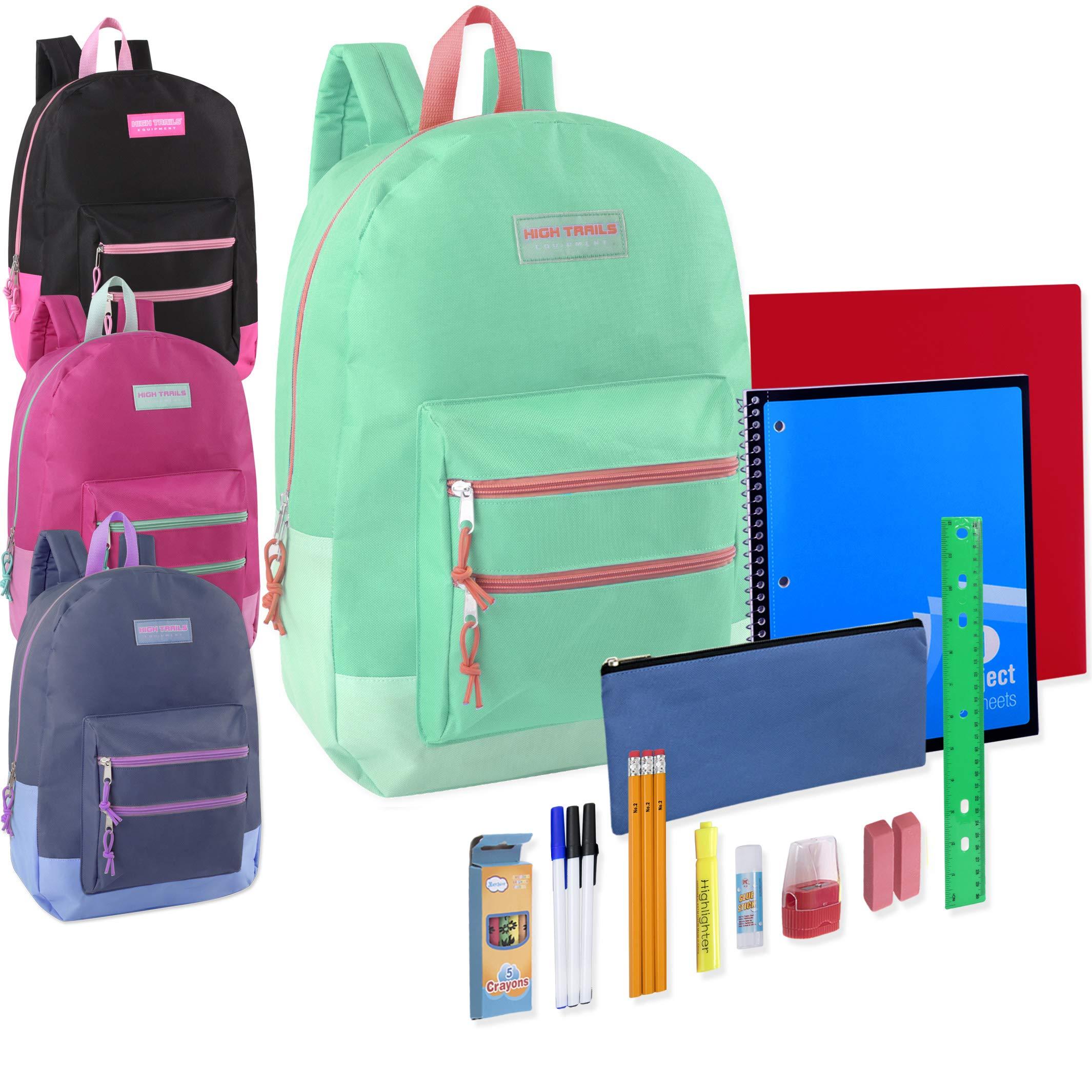 18 Inch Double Zip Backpacks & 20 Piece School Supply Kits in Bulk 12 Pack Bundles