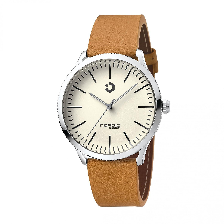 NORDIC DESIGN HAMAR IV Armband: Echtleder hellbraun - Farbe:Edelstahl Silber - Breite Armband:20 mm