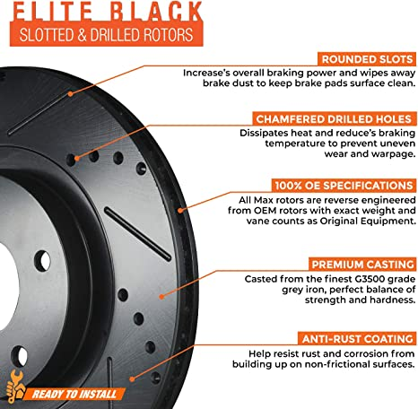 Premium Slotted Drilled Rotors + Ceramic Pads Max Brakes Front /& Rear Performance Brake Kit KT091533 Fits: 2006 06 Mitsubishi Lancer Ralliart Models with 5 Lugs Rotors; Non O-Z Rally Models