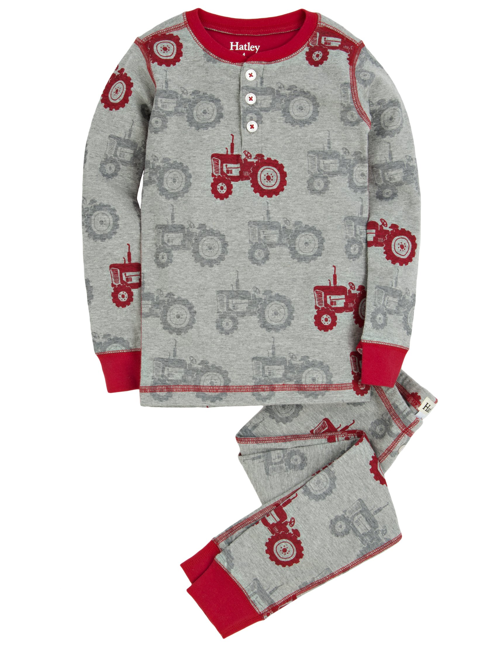 Hatley Little Boys' Henley Pajama Set Silhouette Tractor, Grey, 7
