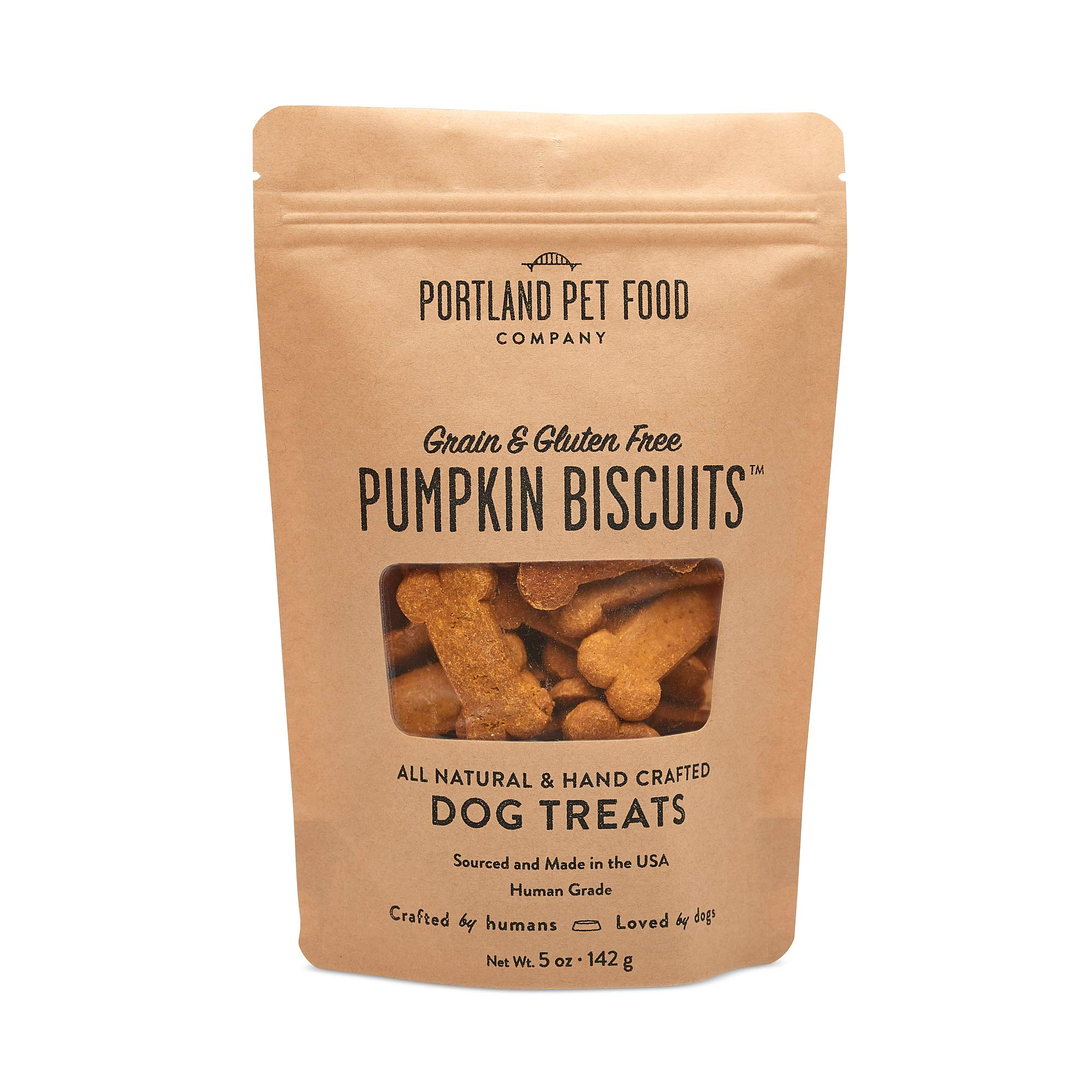Crafted by Humans Loved by Dogs Portland Pet Food Company Pumpkin Biscuit Dog Treats, 5oz by Crafted by Humans Loved by Dogs
